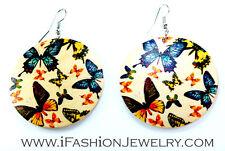 Boho Handmade Art Butterfly Paint Wood Round Hook Drop Dangle Earrings Jewelry