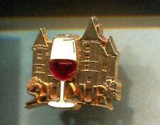 RARE PINS PIN'S .. ALCOOL VIN WINE CHATEAU CASTLE LOIRE VERRE SAUMUR 49 3D OR~CW