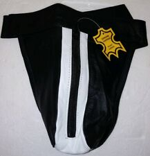 Men's Real Leather, Black-White zip Jock Strap, G-String, Thong Underwear (14G)