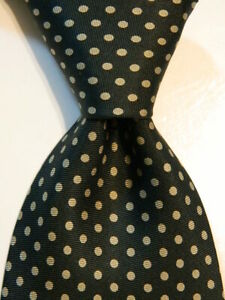 ERMENEGILDO ZEGNA Men's 100% Silk Necktie ITALY Designer POLKA DOT Green EUC