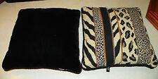 Pair of Black Beige Animal Print Throw Pillows / Decorative Pillows 16 x 16