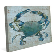 Blue Crab Canvas Nautical Wall Art Print 16x20 for Beach House NEW-PRICE REDUCED