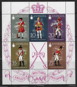 ANTIGUA , 1971 , MILITARY UNIFORMS , SOUVENIR SHEET , PERF , MNH , CV$8
