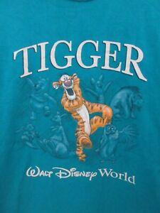 Tigger Walt Disney World Mens T Shirt Size M Crew Neck Short Sleeve Blue Adult