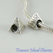 Pyramid Egypt Egyptian .925 Solid Sterling Silver European Spacer Bead Charm