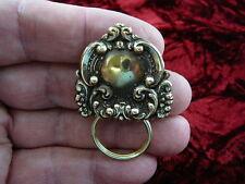 (E-332) dainty Scrolled flower brass Eyeglass pin pendant ID badge holder