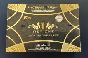 2021 Topps Tier One Baseball Hobby Box - Sealed - 3 Hits = 2 Autos 1 Relic