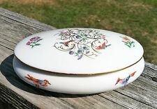 """Pretty Vintage Limoges Covered Trinket / Jewelry Dish~Bird & Floral Motif~5.75"""""""