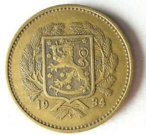 1934 FINLAND 10 MARKKAA - Very Rare Type - HUGE CATALOG VALUE Coin - Lot #L28