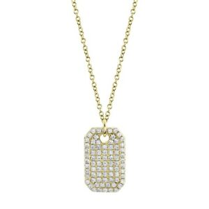 14K Yellow Gold Diamond Dog Tag Pendant Necklace Natural Round Cut Womens