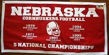 Nebraska Cornhuskers NCAA National Champions Football Banner