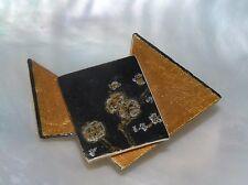 Estate Handpainted Black & Gilt Wood Asian Floral Geometric MODERNIST Pin Brooch
