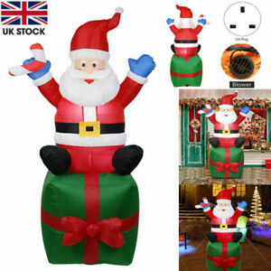 6FT Christmas Giant Inflatable Santa On Present Decora XMAS Outdoor LED Light Up