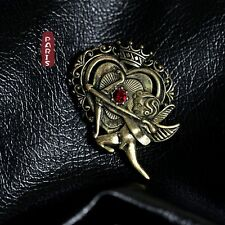 Broche Couronne Ange Coeur Rouge Vintage Style Original XZ 3