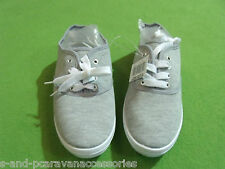 LADIES GIRLS GREY CANVAS SHOES RUBBER PUMP LACE UP FLAT TRAINERS DECK 6.5 UK