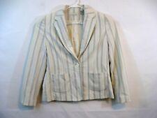 Amanda Smith Women's Jacket Button Up Fashion Coat Size 8 Ivory with blue stripe