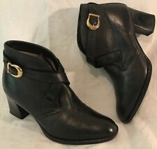 Ladies Black Ankle Leather Lovely Boots Size 5 (44v)