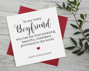 Anniversary funny / for boyfriend from girlfriend greeting card cheeky rude A17