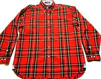 Tommy Hilfiger Mens Red Plaid Front Pocket Button Front Shirt Size XL