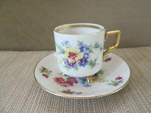 Vintage Germany Demitasse Footed Tea Cup & Saucer Floral Gold