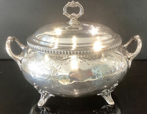 Large Antique Silver Plated Soup Tureen With Side Handles On 4 Ornate Feet