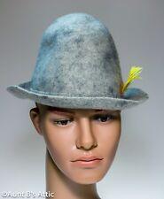 German Alpine-Bavarian-Tyrolean Gray Wool Felt Authentic Festival Costume Hat M