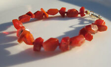 "Red Orange Mexican Fire Opal Nugget 14K Solid Bali Gold Bracelet 6.75"""
