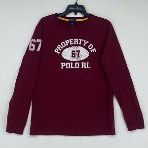 Ralph Lauren Boys XL Long Sleeve T-Shirt Burgundy Football Property of Polo RL