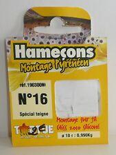 Hameçons montés truite Tortue N°16 0,10mm montage pyrénéen par 10