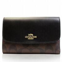 NWT COACH Medium Envelope Wallet Signature Canvas Logo Brown Black F32485 IMAA8