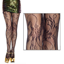 Spandex Fashion Black Fishnet Rose Flower Floral Bouqet Lace Pantyhose Tights OS