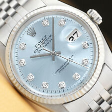 MENS ROLEX DATEJUST ICE BLUE DIAMOND 18K WHITE GOLD & STAINLESS STEEL WATCH