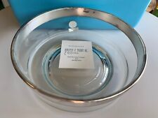 Unused 1960's Dorothy Thorpe Sterling Silver Rim Bowl MCM Crystal Label Serving