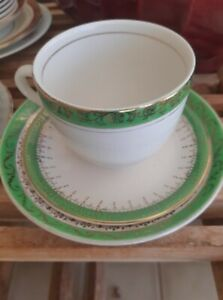 Meakin 1930s Trio - kelly green with gold trim