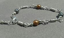 Natural 2 Colour Non Magnetic Hematite Gemstones Artisan Silver linked Bracelet