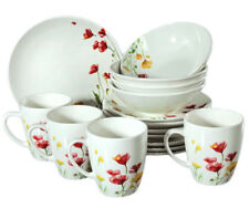 16 Piece Faience Dinnerware Set for 4 persons w/ Floral Art. Dinner Service