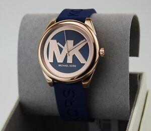 NEW AUTHENTIC MICHAEL KORS RUNWAY JANELLE ROSE GOLD BLUE MK WOMEN'S MK7140 WATCH