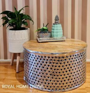 COFFEE TABLE WOODEN TOP ROUND SILVER METAL FRAME MOROCCAN DESIGN