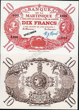 MARTINIQUE 10 FRANCS FANTASY ART SPECIMEN NOTE, GRAPHIC ARTIST-SIGNED - NEW!