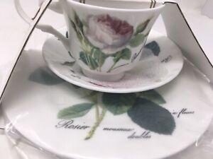 "ROY KIRKHAM Set of 3 Fine  China  Rose Tea Cup/Saucer/8"" Plate New"