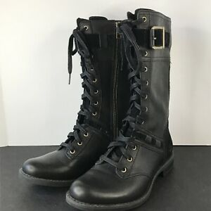 Timberland Earthkeepers Savin Hill Black Leather Lace Up Combat Boots Women's 6M