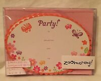 ZOOMERANG! Flower & Butterfly 8 Count Party Invitation & Envelope Pack NEW