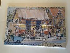 Jill Walker Art Tile Hand Painted. Rum Shop Bank Hall Main Road Barbados. Signed