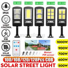 Solar COB LED Wall Street Light PIR Motion Garden Yard Lamp W/ Remote 500W-1000W