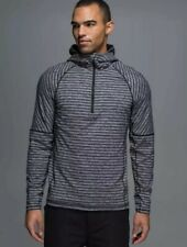 Lululemon Men's Sweat Session Zip Hoodie Pullover Gray Black Striped Medium New