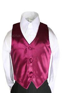 23 color Satin Vest Only Boy Kid Teen Young Men for Formal Tuxedo Suit 8-28