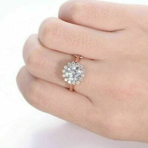 14K Rose GoldOver 0.78ct Round Cut Diamond Halo Style Women's Anniversary Ring