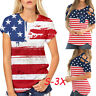 Womens Crisscross Cold Shoulder Independence Day American Flag Blouse Hot