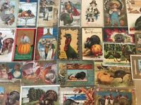 Big Lot of 25~Early 1900's Thanksgiving Postcards~TURKEYS-PILGRIMS-CHILDREN-c570