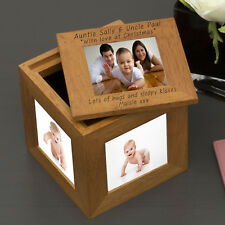Oak Wooden Christmas Photo Cube - Personalised Engraved Gift 5 Photos Frame